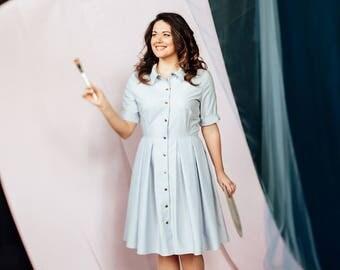 plus size dress, prom dress, summer dress, denim dress, full skirt dress, shirt dress, short sleeve dress, cotton dress, light blue dress