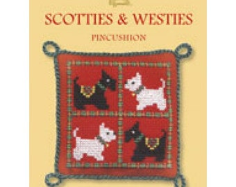 Scotties & Westies Dogs Pincushion Counted Cross Stitch Kit By Textile Heritage