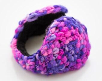 Women Earmuff - PinK & Purple Wool - winter accessories -  ear muffs - ear warmer, paraorecchie, ohrenschützer