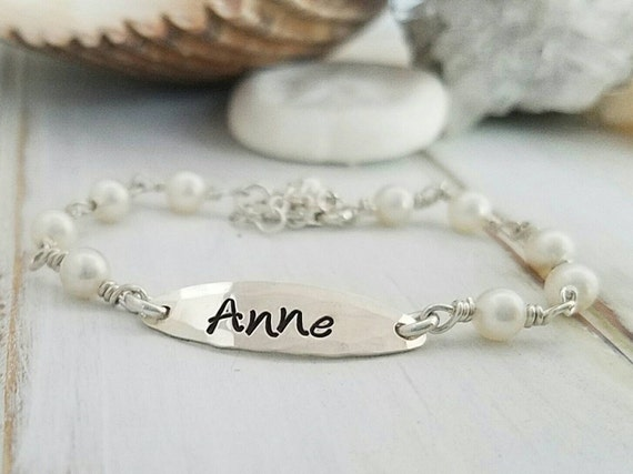 Pearl bracelet, Custom Made Infant, Baby, Child, Solid Sterling Silver and Pearl Link Hand Stamped Personalized Initial, Name, ID Bracelet