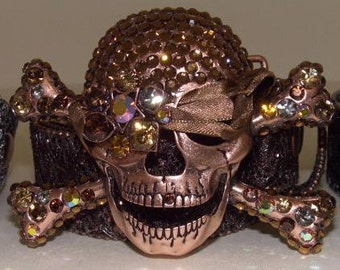 Bronze colored Swarovski Crystal Pirate Skull Belt and buckle- Dazzling Estate accessory