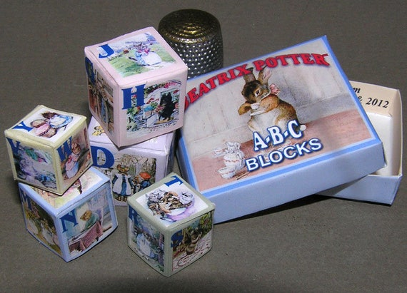 ABC block Beatrix Potter, paper minis, DIY kit from paper in miniature for the Doll House, Doll House, dollhouse miniatures # 40063