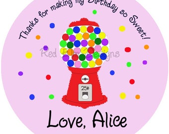 "Gumball Machine Party Stickers - Sheet of 20 - 2"" round.  Candy Birthday Party Favors.  2 Inch Round Gumball Machine Birthday Party Stickers"