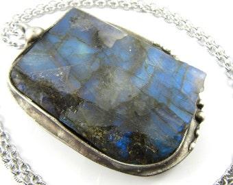 the magic mirror - rough slab labradorite crystal pendant