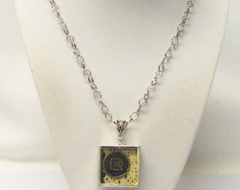 Square Art Glass Pendant Necklace