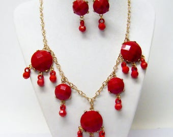 Dark Red Acrylic Bead on Gold Plated Bezel Necklace/Earrings Set