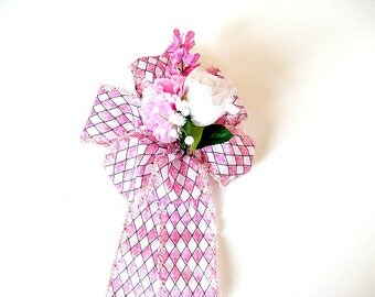 Feminine gift bow, Gift for women, Home decor, Mother's Day bow, Large gift wrap bow, Spring wreath bow, Bow for gift baskets (HB95)