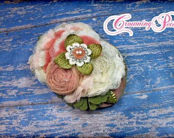 Ivory, Coral, Olive Green Hair Piece, Salmon Headband, Coral Olive Hair Clip, Flower Hair Piece, Blush Fabric Flower Hair Accessories, Cream