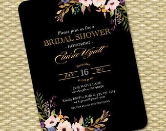 Printable Bridal Shower Invitation Black Gold Watercolor Flowers Navy Gold Bridal Brunch Wedding Shower ANY EVENT