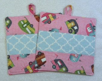 Camper Print Pot Holder Quilted Hot Pad or Trivet Quilted Pot Holder Trivet set of 2 Ready to Ship