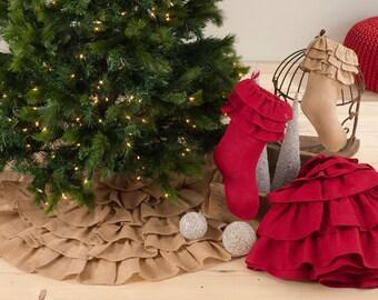 mini christmas tree skirt burlap ruffles natural monogram tree skirt rustic tree - Mini Christmas Tree Skirt