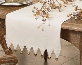 """Christmas Bells Table Runner   Jingle Bells Table Runner   Christmas Rustic   Long   72""""   Christmas Embroidered   Shaby Chic   Monogram"""