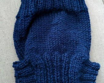 Hand knitted wool diaper cover, 0-3 months, navy blue