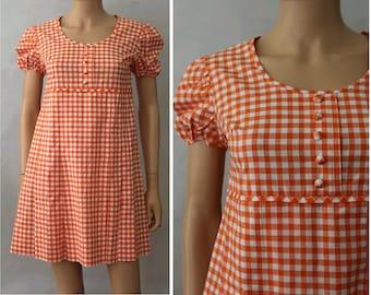 1960 Twiggy Mini Dress orange cotton gingham small/ 60s mini cotton dress