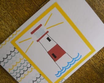Bright lighthouse card. Individually made from an original illustration. Suitable for any occasion.