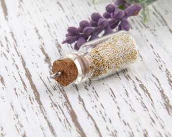 Silver/Gold, Mini Glass Bottle Pendant with Caviar Beads, 1 piece // PND-014