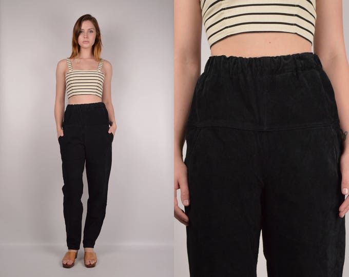 Vintage Black Suede Trousers