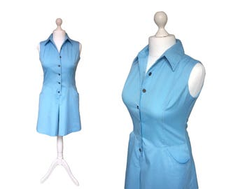1960's Playsuit   Murr's California   60's Romper   Vintage Playsuit   Baby Blue All In One Top And Shorts   Palm Springs Romper