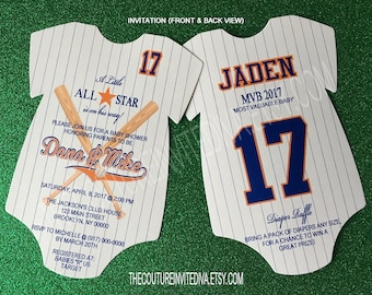 Baseball Onesie Invitation, Die Cut Baseball Invitation, Baseball Baby Shower Invitation
