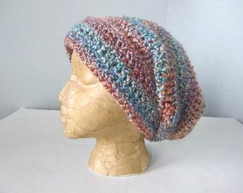 Crochet Teal, Gold, Purple, Pink, Blue, Lavender, Rusty Orange Slouchy Hat, Beanie Hat