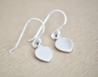 Leaf Earrings - Modern Leaf Earrings - Minimalist Leaf Earrings - Sterling Silver Drop Earrings - Gift For Women
