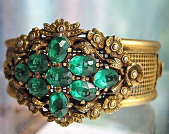 Marcasite Flowers Hinged Bracelet, Victorian Revival Vintage Coro, Wide Brass Woven Wire Cuff, Floral Medallion, Emerald Green Open Stones