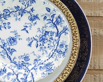 Blue and White Mismatched Plates Set of 3 Tea Party Lunch Plate Salad Plate and Butter Dinner Plate Replacement China Shop The Collection