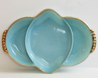 Vintage Fire-King Blue Delphite Divided Relish Dish with Gold Beaded Rim MINT