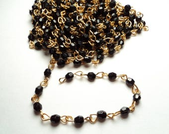 10 ft. - Vintage acrylic 4mm faceted black bead - link chain - m86
