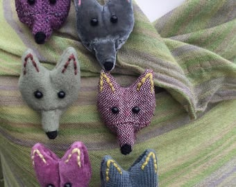 Handmade textile fox head brooches