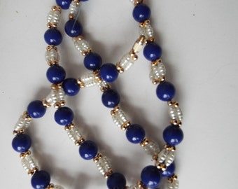 """lapis lazulli genuine  freshwater pearl cluster gold filled beads necklace 24"""""""