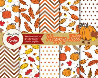 Autumn Digital Paper Pack Fall Scrapbooking Pattern Hand Drawn Papers Foliage Patterns with Pumpkins Acorns Leafs Seamless Pattern