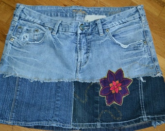 Upcycled Jean Hippie skirt.....Silver.....size 32...
