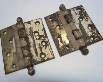 Vintage Pair of White Peeling Painted Chic Door Hinges // Rusty Hinges //