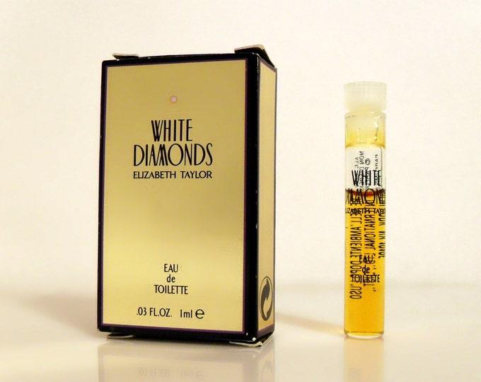 Vintage 1990s White Diamonds by Elizabeth Taylor 0.03 oz Eau de Toilette Sample Vial in Box PERFUME