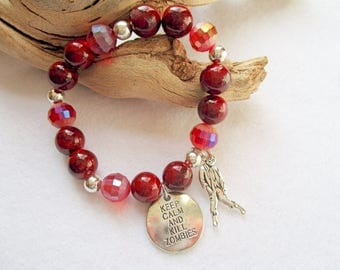 Zombie bracelet, Walking Dead, Zombie lover, Fun jewelry, Zombie charm, Red beaded, Handmade, Gifts for her