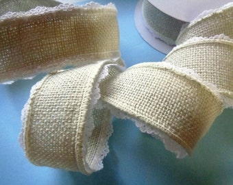 """Burlap And Lace Wired Ribbon, Light Natural, 1 1/2"""" inch wide, 1 yard For For Gift Packing, Wreaths, Center Pieces, Home Decor"""