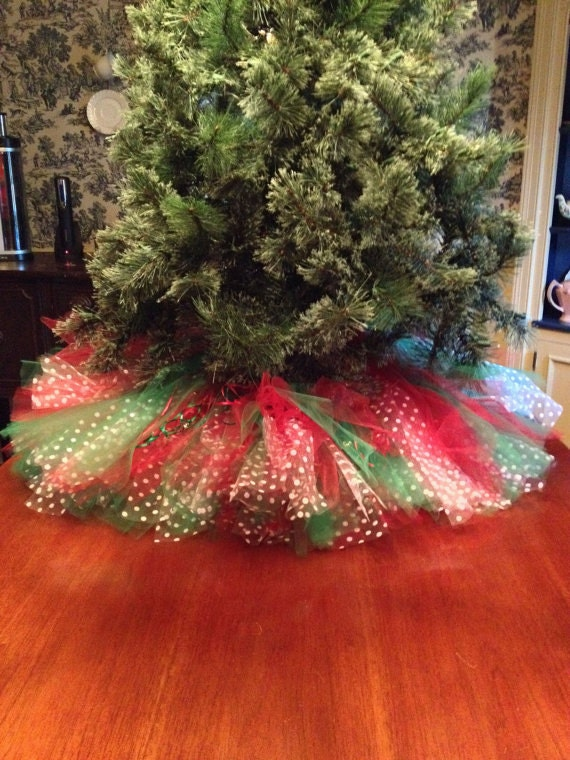 Red green with white polka dots christmas tree skirt
