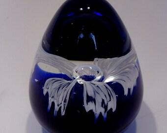 Cobalt Blue Glass Egg Paperweight White Glass Flower Inside Vintage