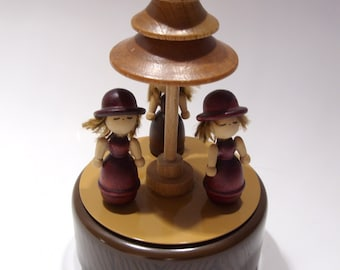 """Metal and Wood Music Box Three Girls Spin """"Dance"""" Around Stylized Wood Tree Made in Japan"""