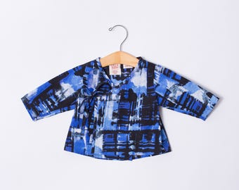 Infant Wrap Top - Baby Kimono Top - Blue Baby Top