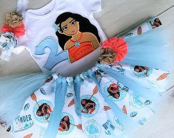 Moana Birthday Outfit Personalized Tutu Set 1st Birthday - First Birthday Tutu -