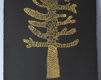 Monkey Puzzle - Gold lino cut