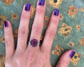 Vintage Sterling Silver Ring Faceted Glass Amethyst Solitaire Size 7 Heart Setting February Birthday Gift for Girlfriend