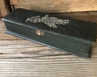 Victorian Necktie Box, Black Leather, Silver Lettering, Mens Storage Box, Home Decor, Steampunk Decor