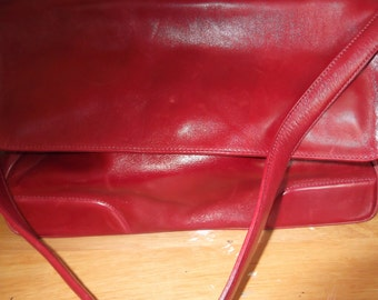 Franceso Biasia red leather handbag made in Italy, leather purse