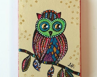 Owl Painting Acrylic Original Canvas Colorful - Kids Room - Rainbow Abstract Dots - Owl Wall Art - Owl Gift - Colorful Painting - Wise Owl