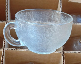 Pebbled Clear Glass Cups, Pressed Glass Expresso Cups, Mid Century Collectable Cups, Viking Glass Co, Set of EAPG Cups