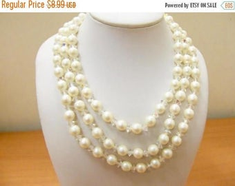 On Sale Vintage Triple Strand Faux Pearl and Aurora Borealis Crystal Necklace Item K # 1991