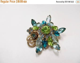 On Sale Vintage Prong Set Blue, Green and Teal Rhinestone Pin Item K # 3231